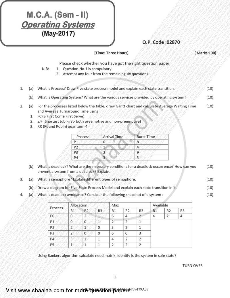 Operating System 2016-2017 - M.C.A. - Semester 2 - University of Mumbai question paper with PDF download