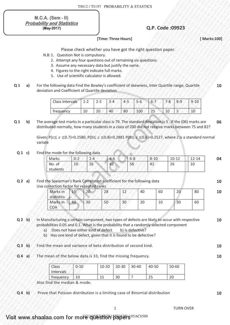 Question Paper - Probability and Statistics 2016 - 2017 - M.C.A. - Semester 2 - University of Mumbai