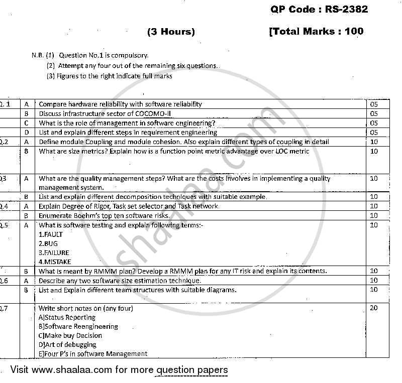 Question Paper - Software Engineering 2013 - 2014 - M.C.A. - Semester 3 - University of Mumbai