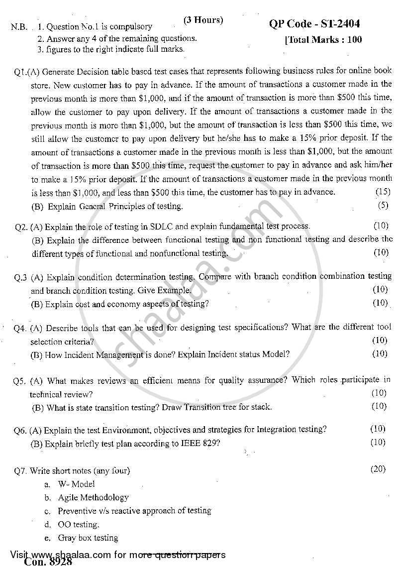 Question Paper - Software Testing 2013 - 2014 - M.C.A. - Semester 5 - University of Mumbai