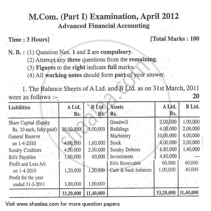 Question Paper - Advance Financial Accounting 2011 - 2012 - M.Com. - Part 1 - University of Mumbai