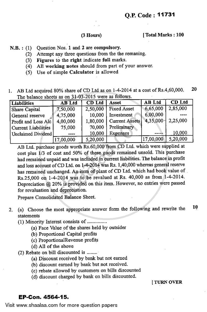 Question Paper - Advance Financial Accounting 2014 - 2015 - M.Com. - Part 1 - University of Mumbai