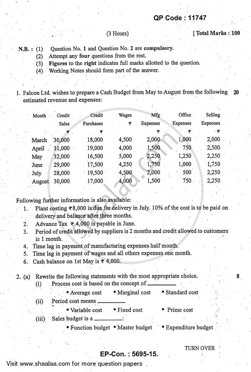 Question Paper - Advanced Cost Accounting 2014 - 2015 - M.Com. - Part 1 - University of Mumbai