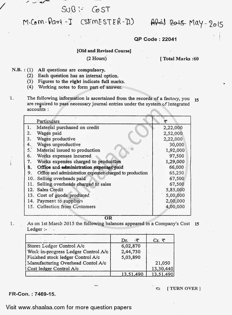 Advanced Cost Accounting 2014-2015 - M.Com. - Semester 2 - University of Mumbai question paper with PDF download