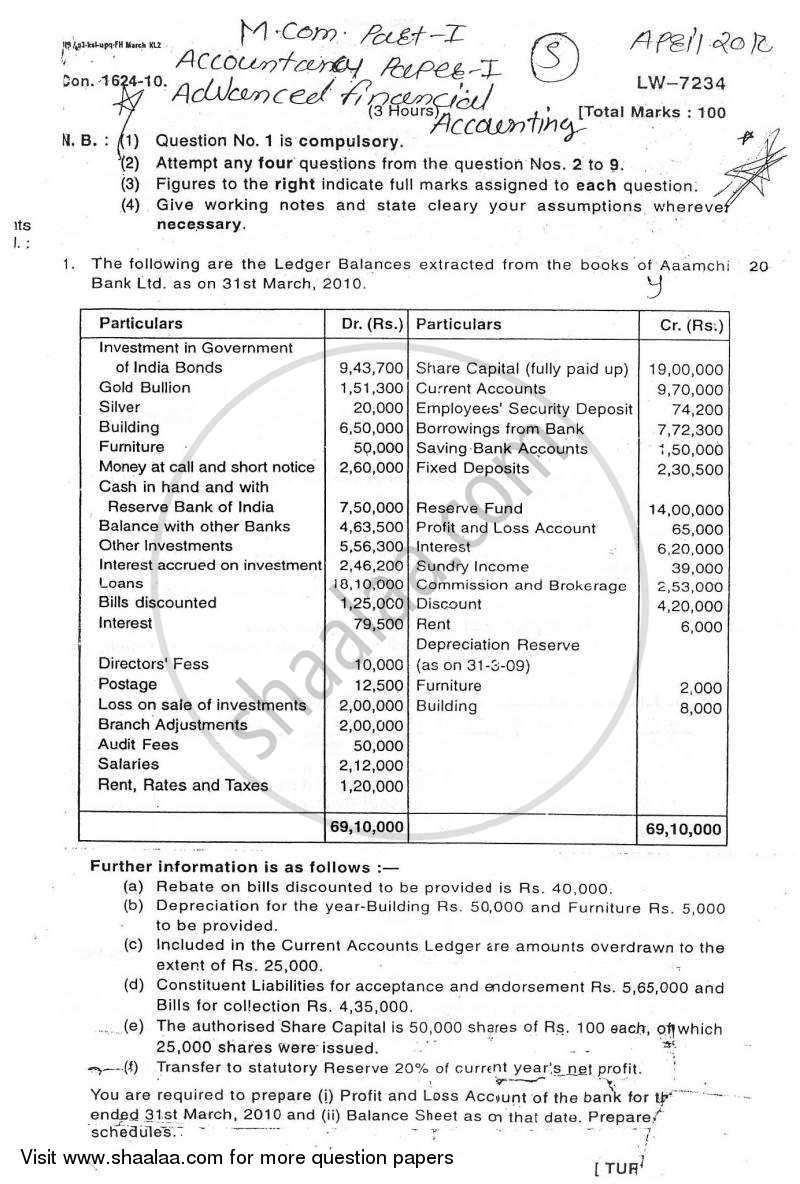 Question Paper - Advanced Financial Accounting 2009 - 2010 - M.Com. - Semester 1 - University of Mumbai