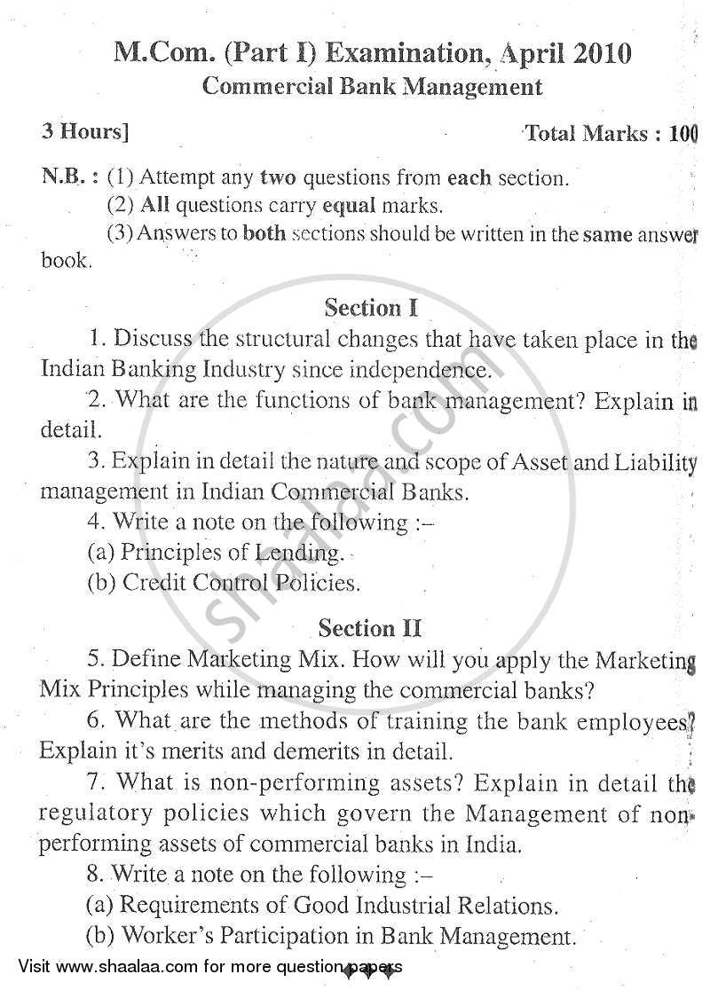 Question Paper - Commercial Banking Management 2008 - 2009 - M.Com. - Part 1 - University of Mumbai