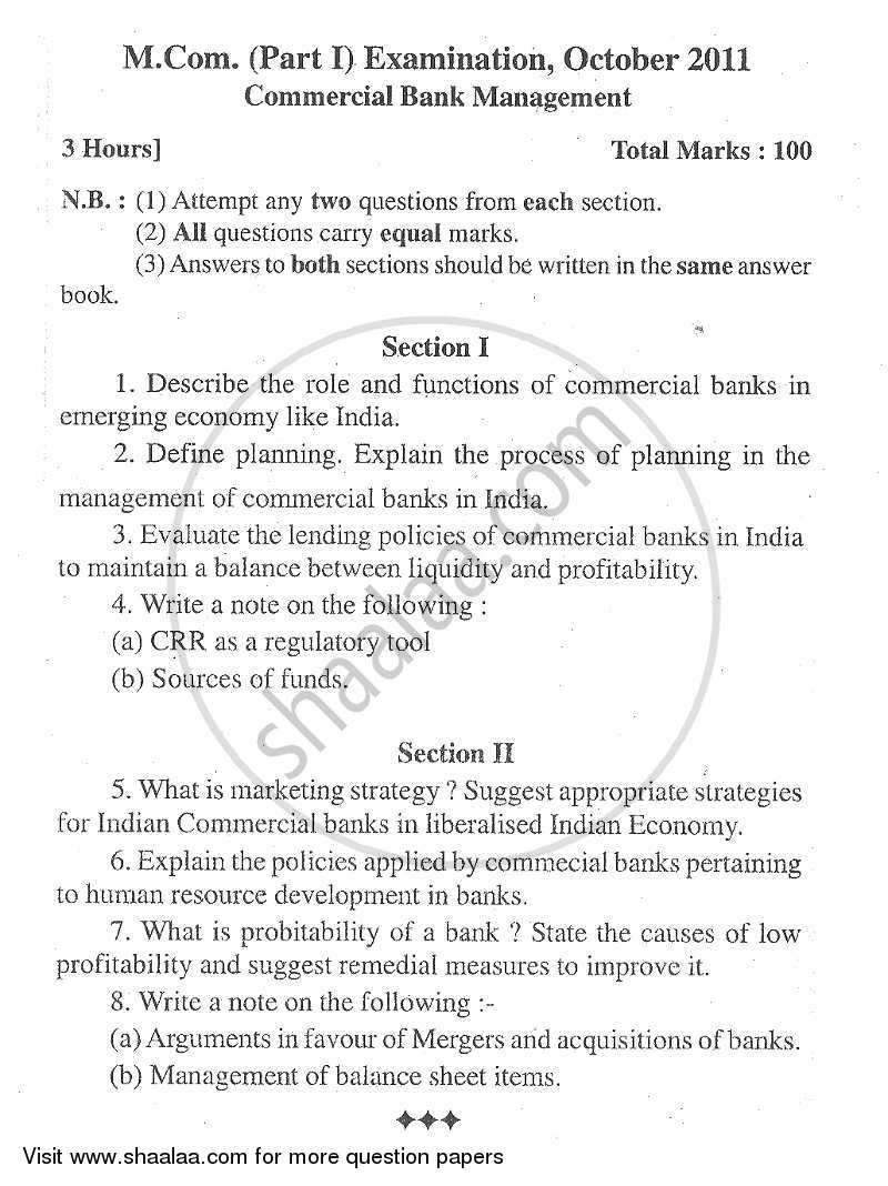 Question Paper - Commercial Banking Management 2009 - 2010 - M.Com. - Part 1 - University of Mumbai