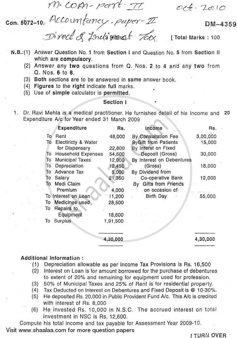 Question Paper - Direct and Indirect Taxes 2010-2011 - M.Com. - Part 2 - University of Mumbai with PDF download