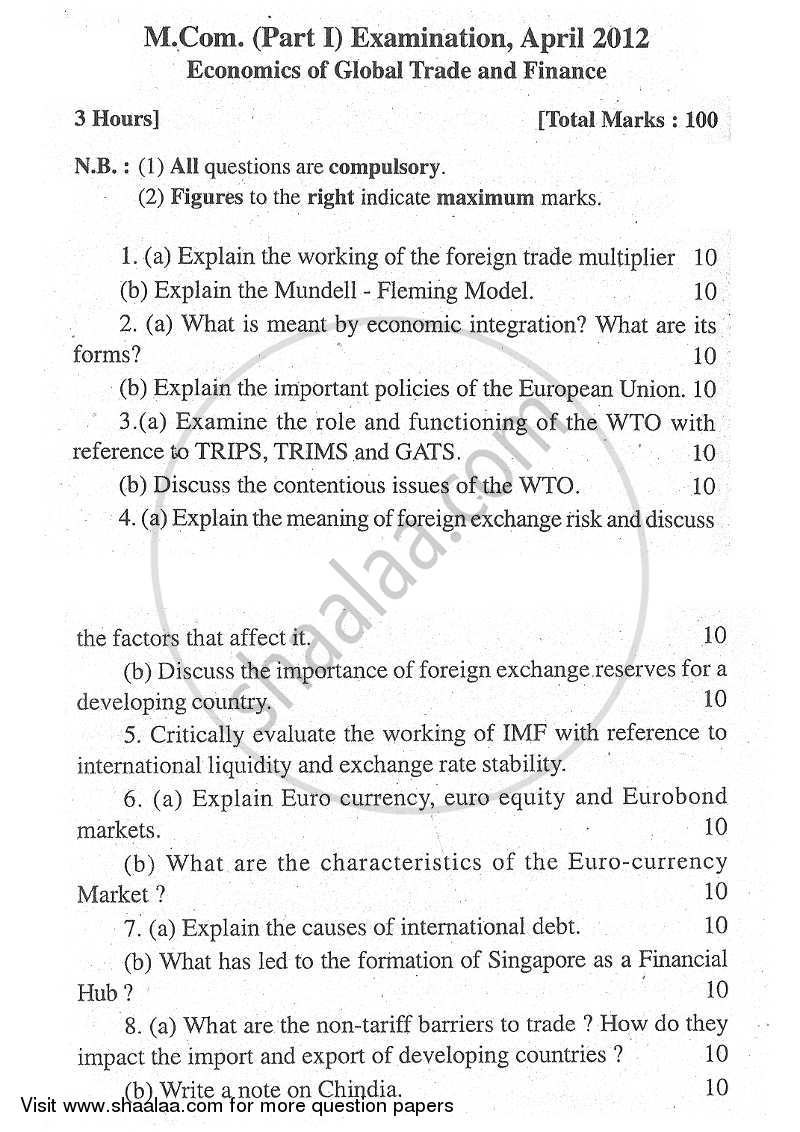 Question Paper - Economics of Global Trade and Finance 2011 - 2012 - M.Com. - Part 1 - University of Mumbai