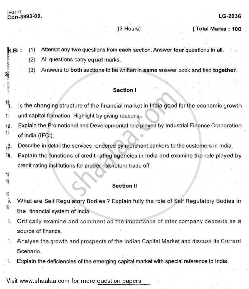 Question Paper - Financial Markets in India 2009 - 2010 - M.Com. - Part 2 - University of Mumbai
