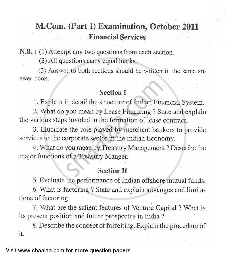 Question Paper - Financial Services 2011 - 2012 - M.Com. - Part 1 - University of Mumbai