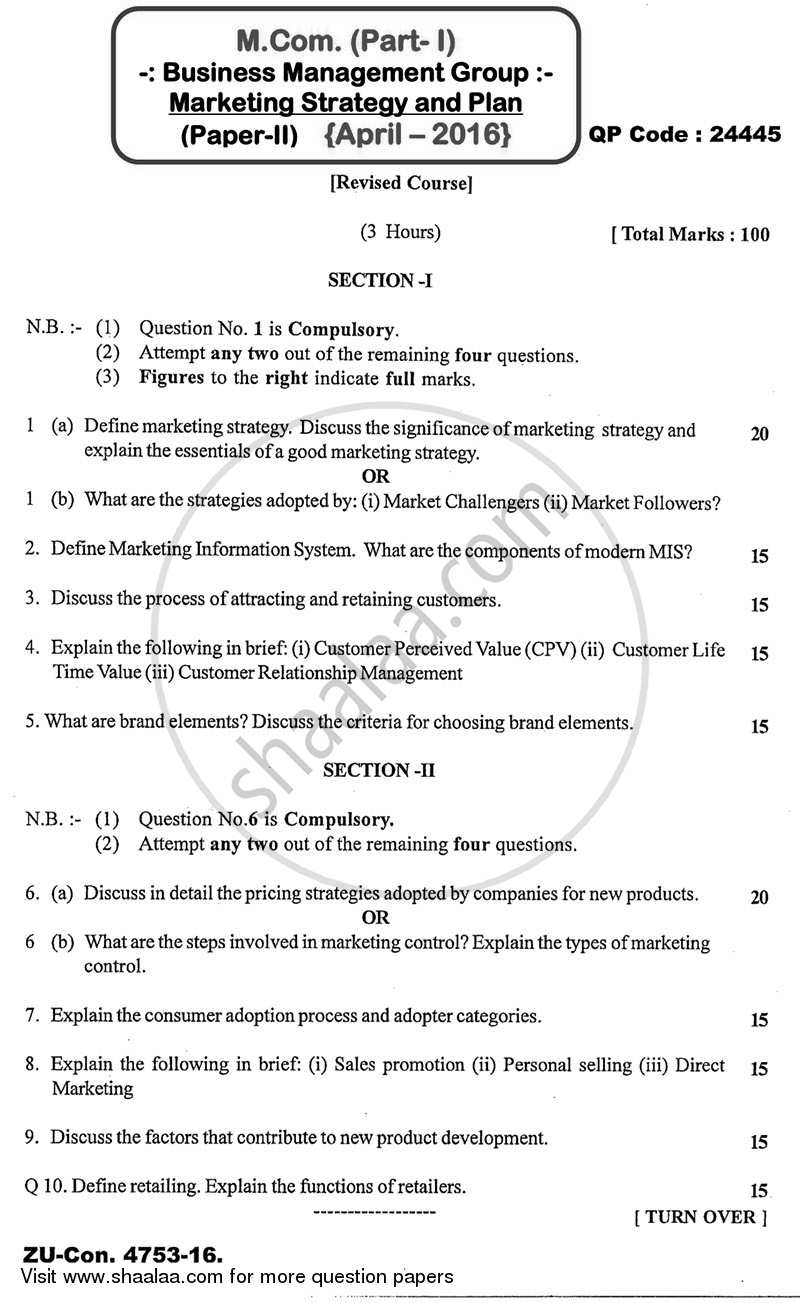 Question Paper - Marketing Strategies and Plans 2015 - 2016 - M.Com. - Semester 1 - University of Mumbai