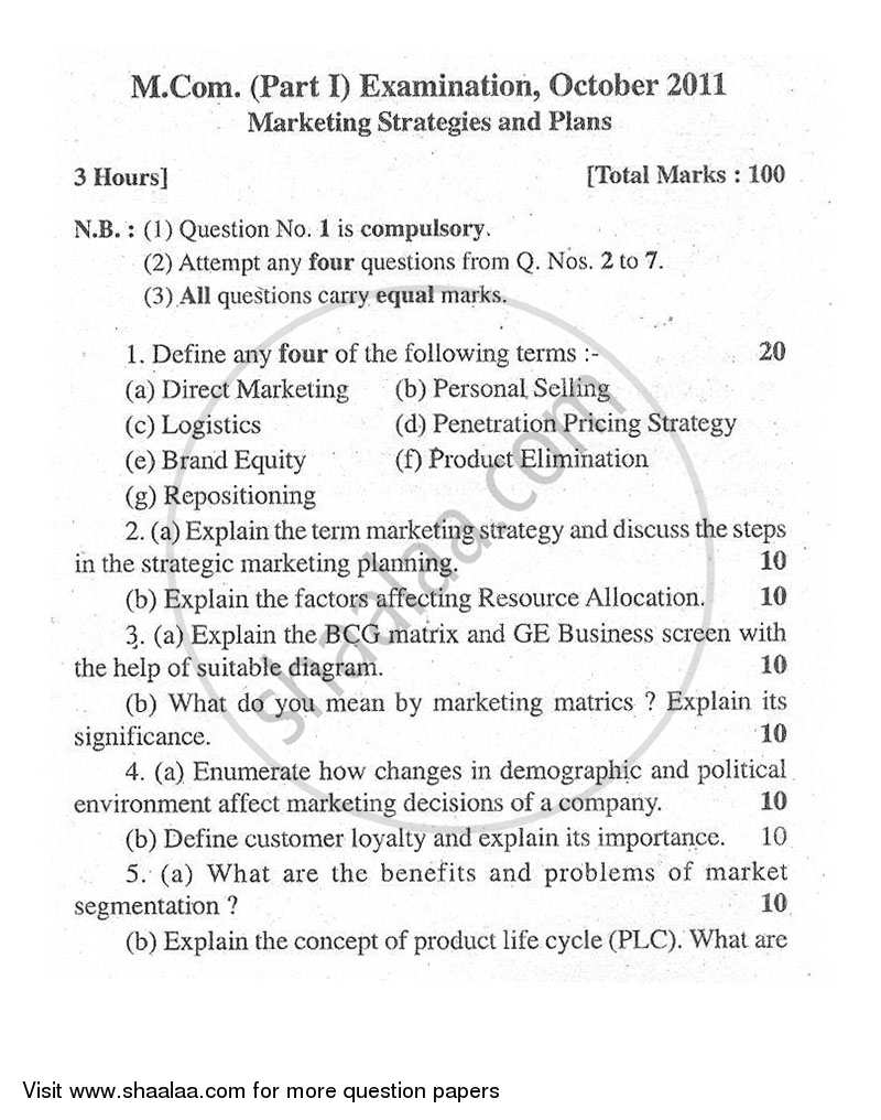 Question Paper - Marketing Strategy and Plan 2011 - 2012 - M.Com. - Part 1 - University of Mumbai