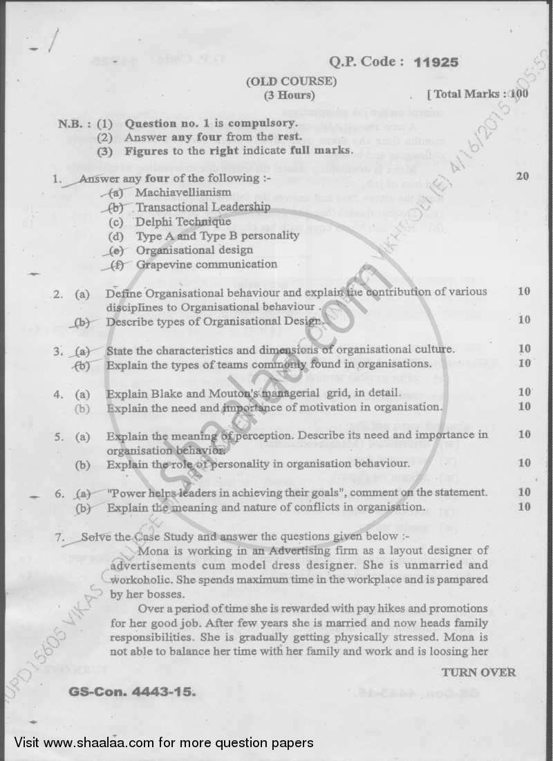 Organizational Behaviour 2014-2015 - M.Com. - Semester 4 - University of Mumbai question paper with PDF download