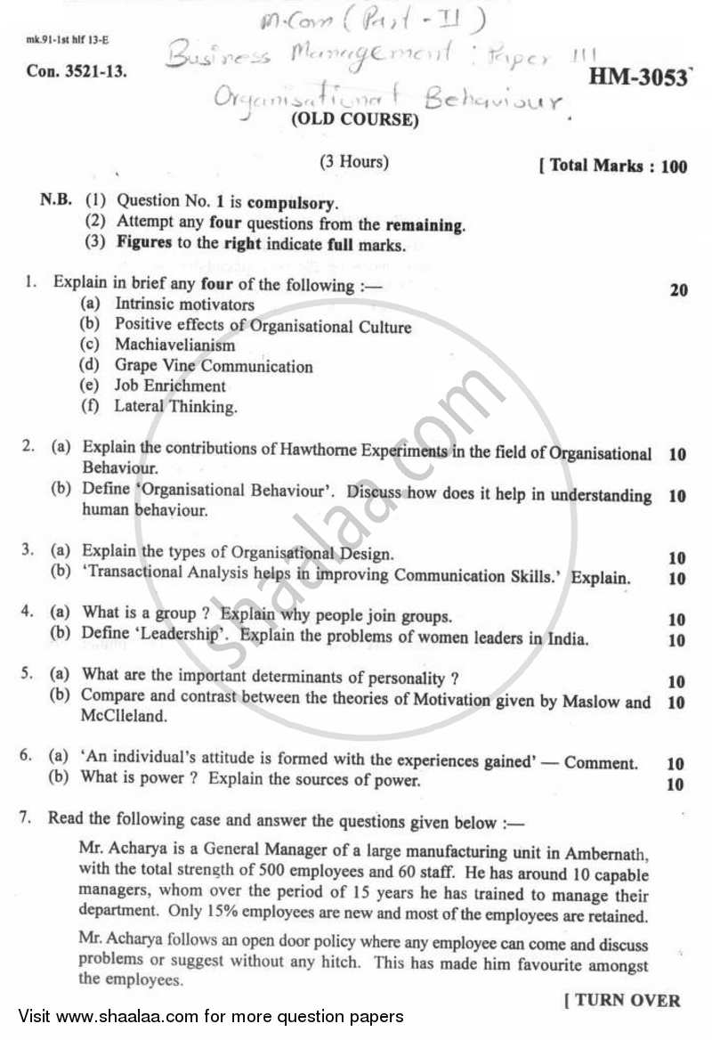 question paper organizational behaviour m com question paper organizational behaviour 2012 2013 m com part 2