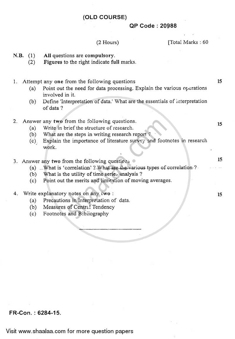 Question Paper - Research Methodology in Commerce 2014-2015 - M.Com. - Semester 4 - University of Mumbai with PDF download
