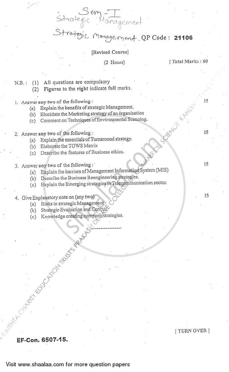 Strategic Management 2015-2016 M Com Advanced Accountancy Semester 1