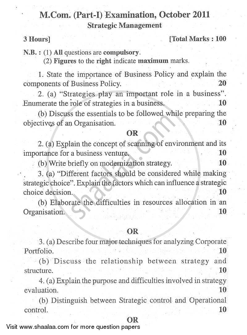 Question Paper - Strategic Management 2011 - 2012 - M.Com. - Part 1 - University of Mumbai