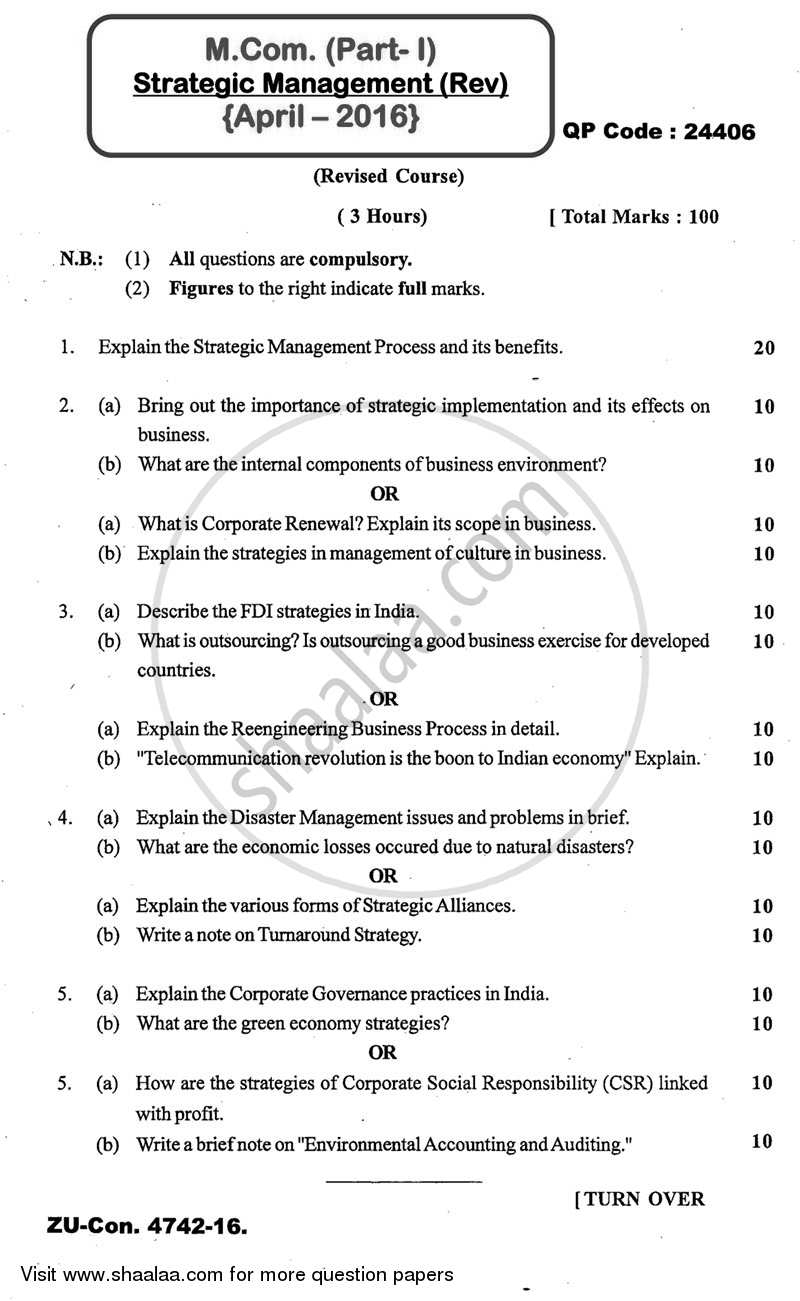 Question Paper - Strategic Management 2015 - 2016 - M.Com. - Part 1 - University of Mumbai