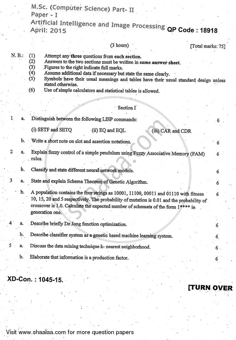 Question Paper - Artificial Intelligence and Image Processing 2014 - 2015 - M.Sc. - Part 2 - University of Mumbai
