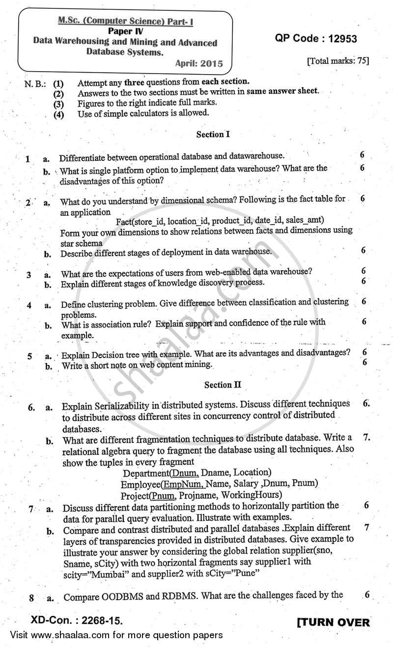 Question Paper - Data Warehousing and Mining and Advanced Database Systems 2014 - 2015 - M.Sc. -  - University of Mumbai