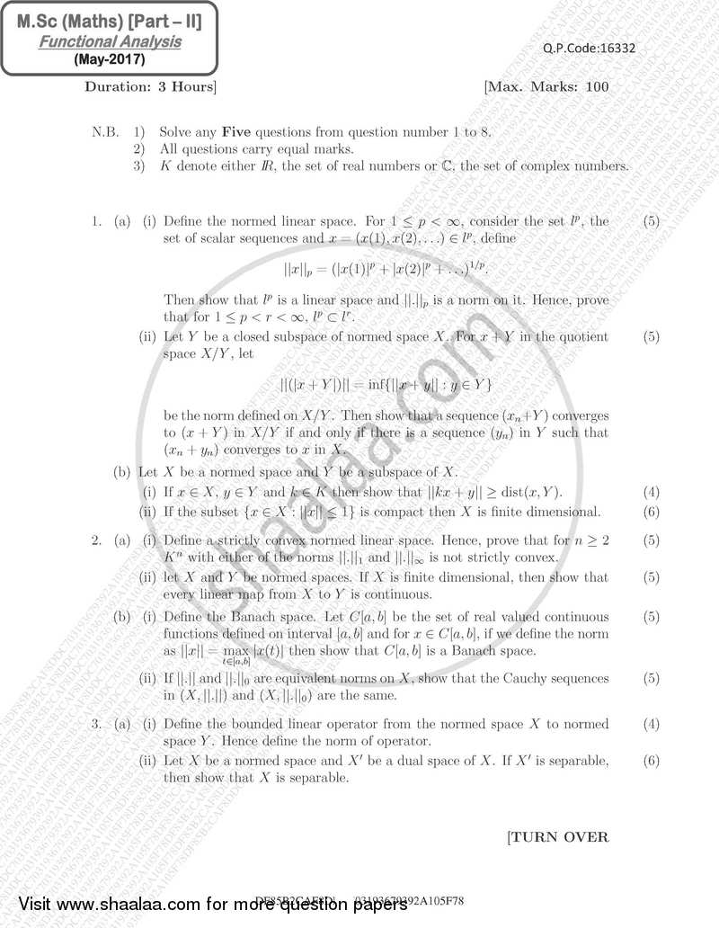 Functional Analysis 2016-2017 - M.Sc. - Part 2 - University of Mumbai question paper with PDF download