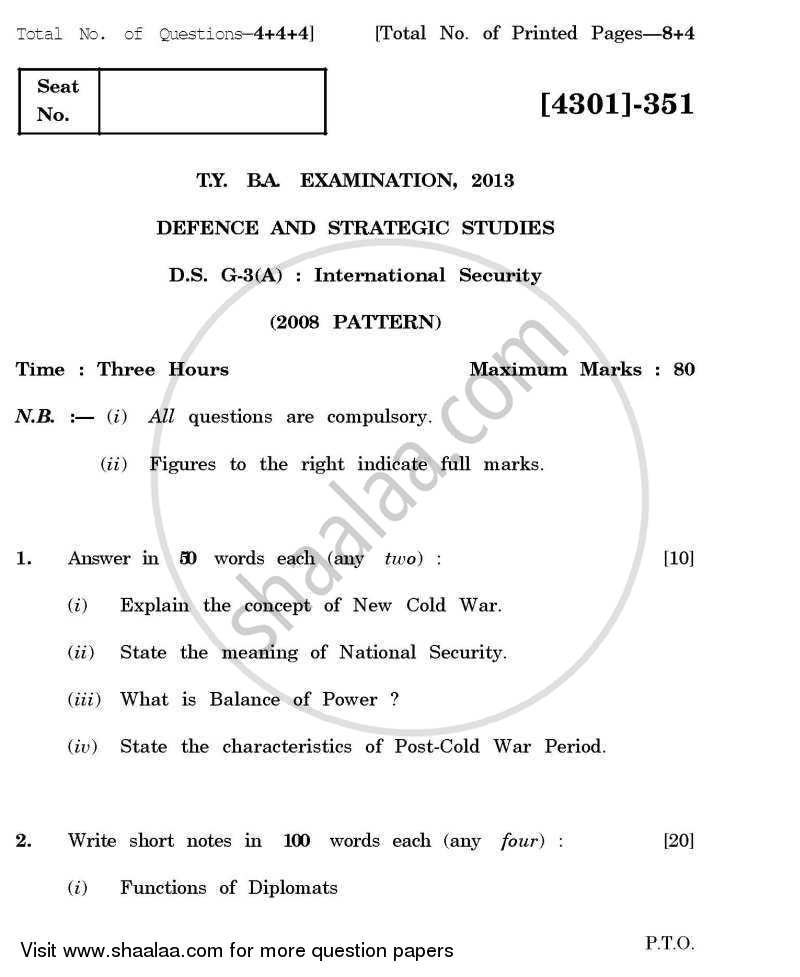 Defence and Strategic Studies General Paper 3A- International Security 2012-2013 - B.A. - 3rd Year (TYBA) - University of Pune question paper with PDF download