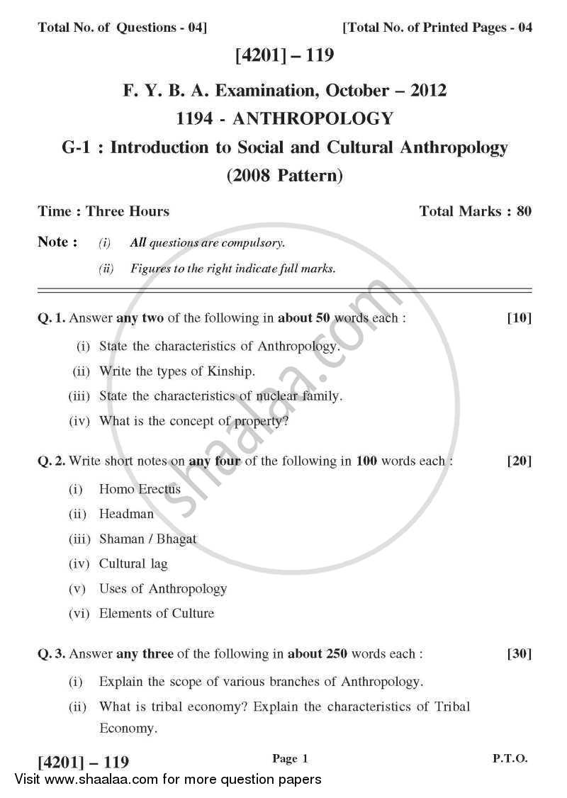 Question Paper - Anthropology General Paper 1- Introduction to Social and Cultural Anthropology 2012 - 2013 - B.A. - 1st Year (FYBA) - University of Pune