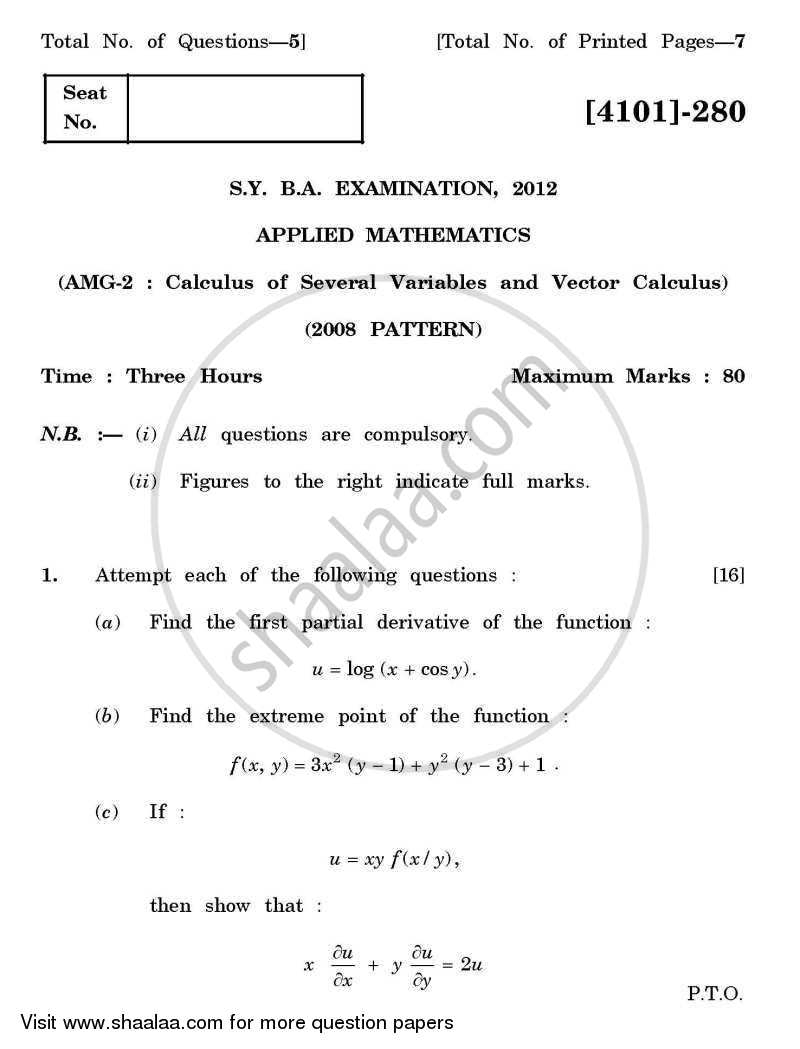Question Paper - Applied Mathematics General Paper 2- Calculus of Several Variables and Vector Calculus 2011 - 2012 - B.A. - 2nd Year (SYBA) - University of Pune