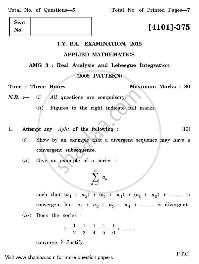Applied Mathematics General Paper 3- Real Analysis and Lebesgue Integration 2011-2012 - B.A. - 3rd Year (TYBA) - University of Pune question paper with PDF download