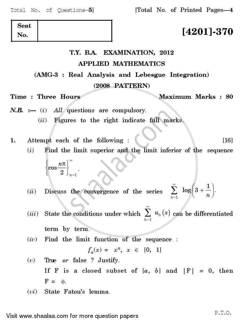 Applied Mathematics General Paper 3- Real Analysis and