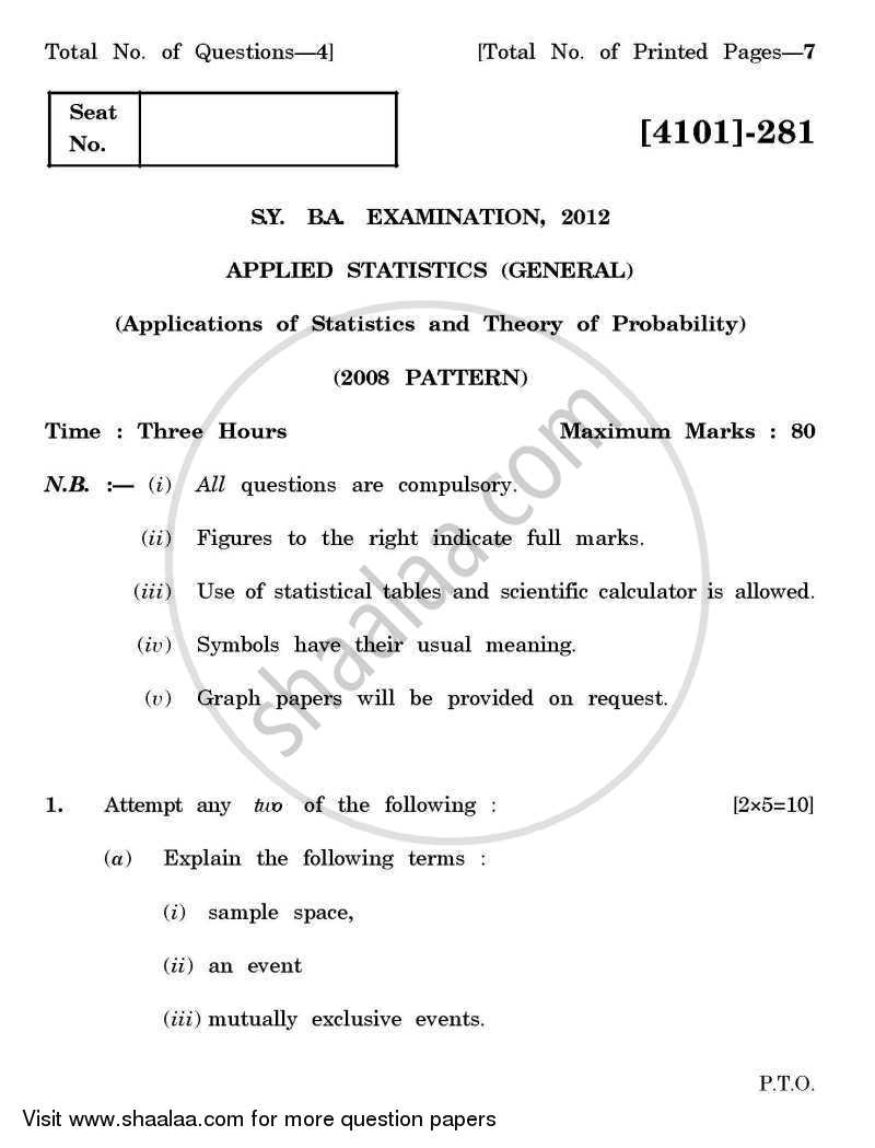 Question Paper - Applied Statistics- Applications of Statistics and Theory of Probability 2011 - 2012 - B.A. - 2nd Year (SYBA) - University of Pune