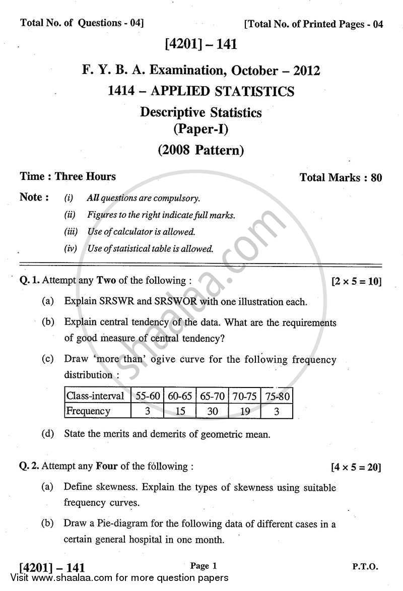 Question Paper - Applied Statistics- Descriptive Statistics 2012 - 2013 - B.A. - 1st Year (FYBA) - University of Pune