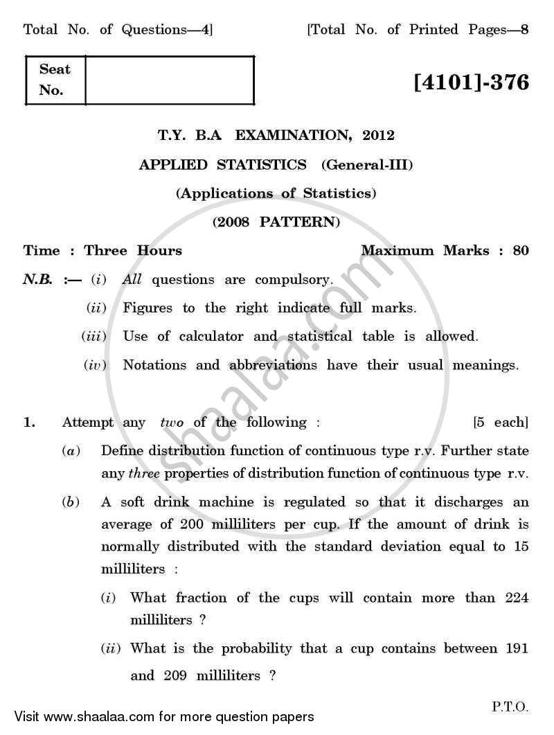 Question Paper - Applied Statistics General Paper 3- Applications of Statistics 2011 - 2012 - B.A. - 3rd Year (TYBA) - University of Pune