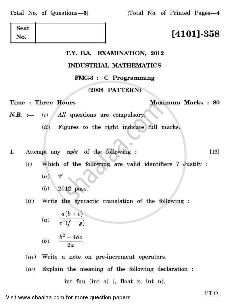 Question Paper - C-programming 2011 - 2012 - B.A. - 3rd Year (TYBA) - University of Pune