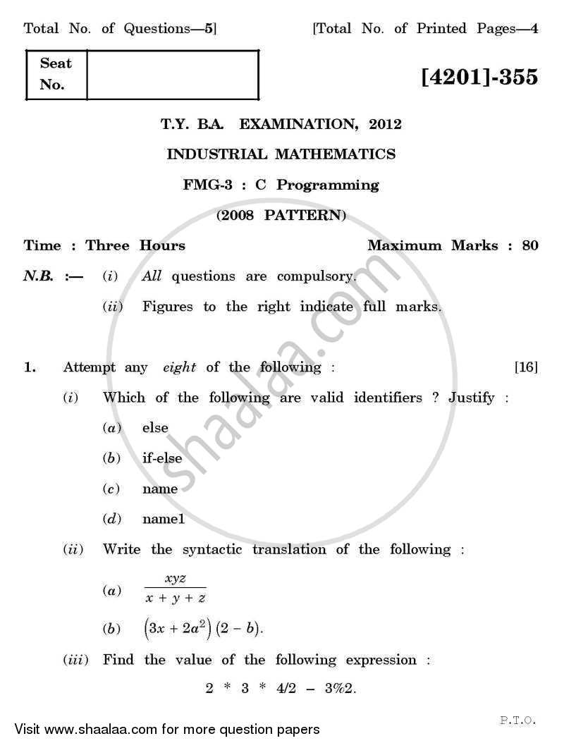 Question Paper - C-programming 2012 - 2013 - B.A. - 3rd Year (TYBA) - University of Pune