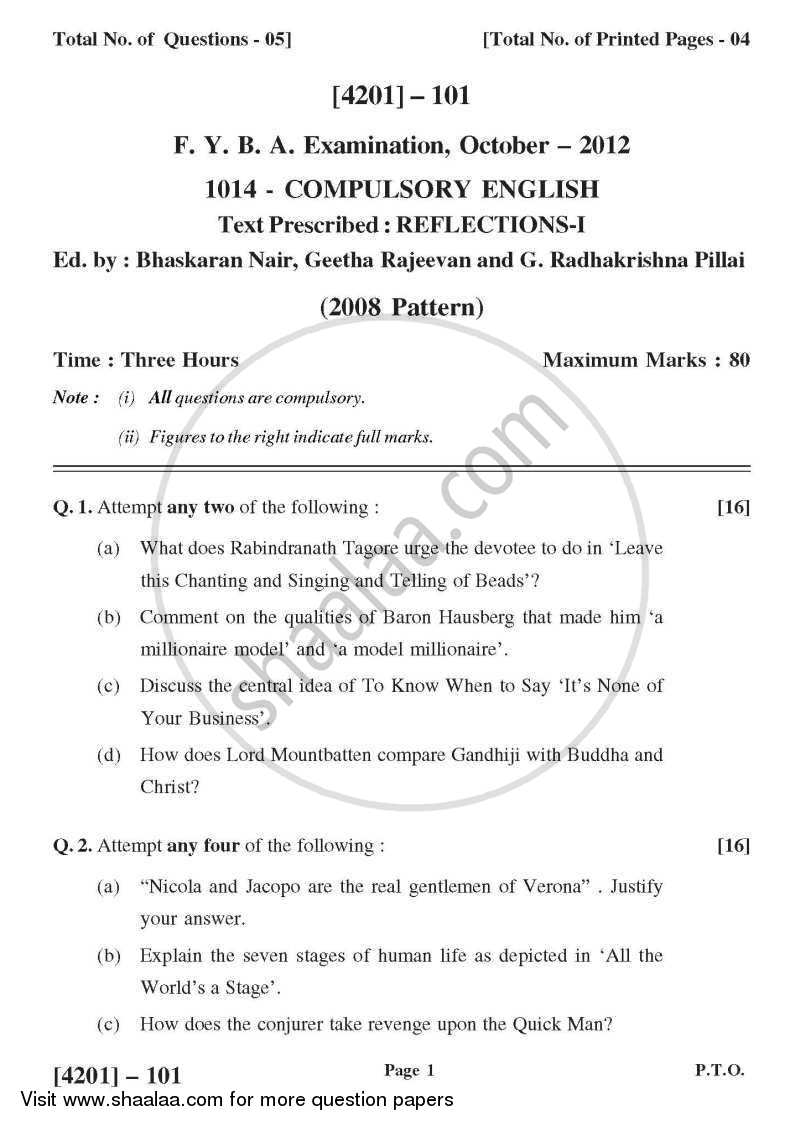 Question Paper - Compulsory English 2012 - 2013 - B.A. - 1st Year (FYBA) - University of Pune