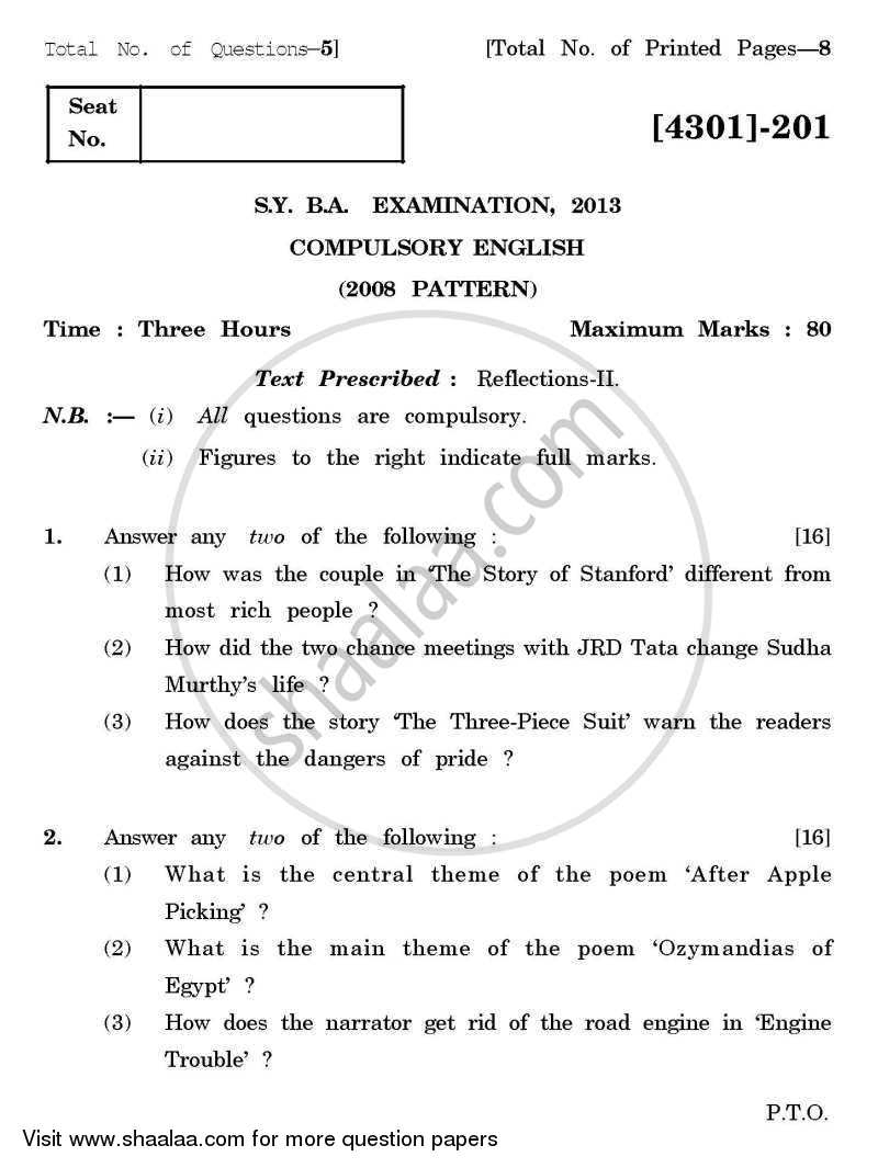 Question Paper - Compulsory English 2012 - 2013 - B.A. - 2nd Year (SYBA) - University of Pune