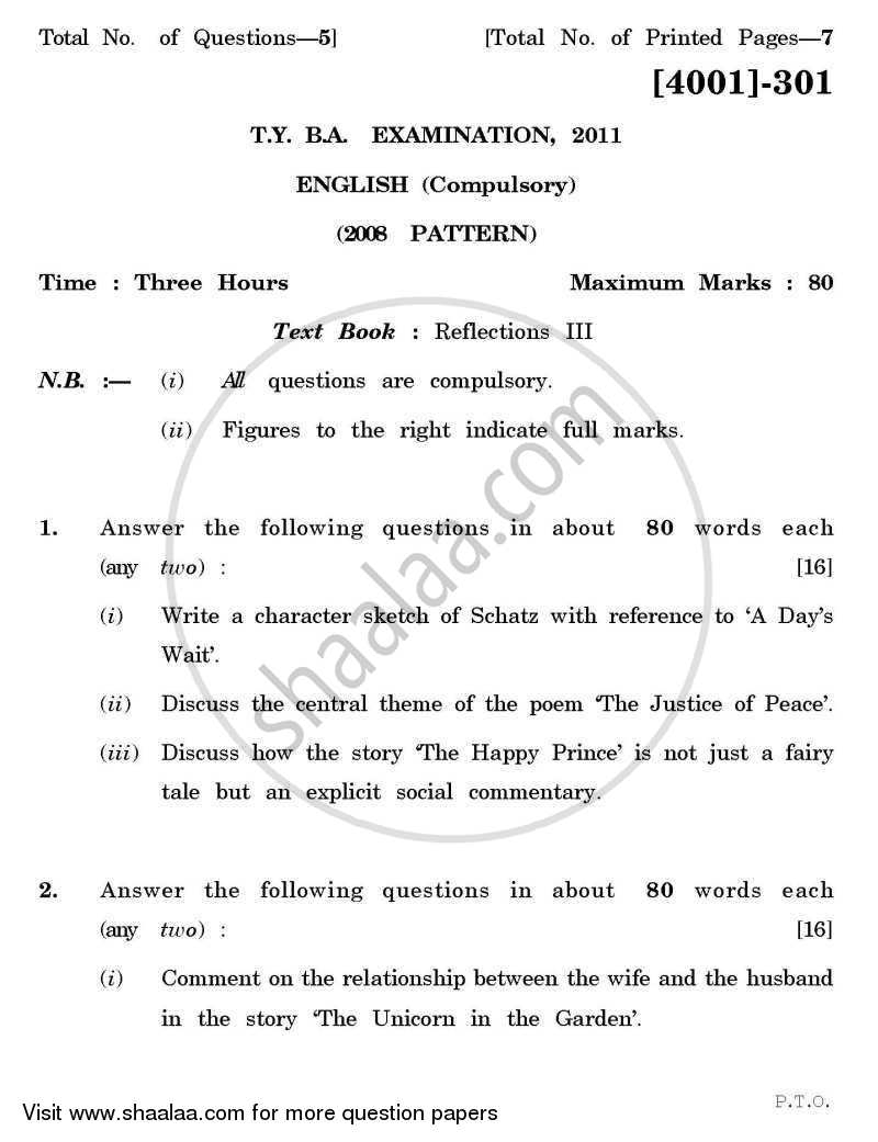 Question Paper - Compulsory English 2011 - 2012 - B.A. - 3rd Year (TYBA) - University of Pune