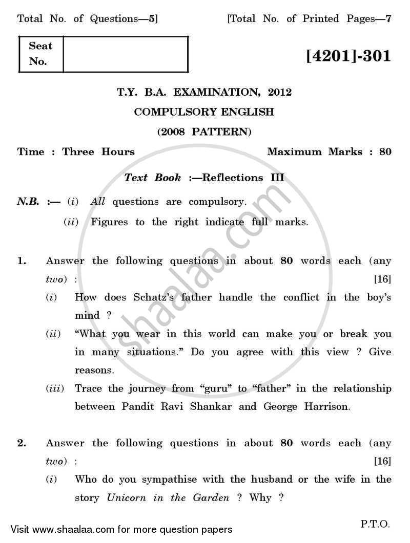 Question Paper - Compulsory English 2012 - 2013 - B.A. - 3rd Year (TYBA) - University of Pune