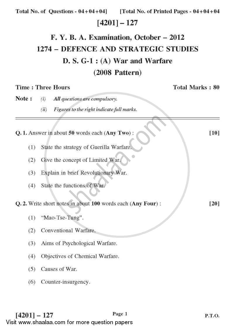 Question Paper - Defence and Strategic Studies General Paper 1A- War and Warfare 2012 - 2013 - B.A. - 1st Year (FYBA) - University of Pune