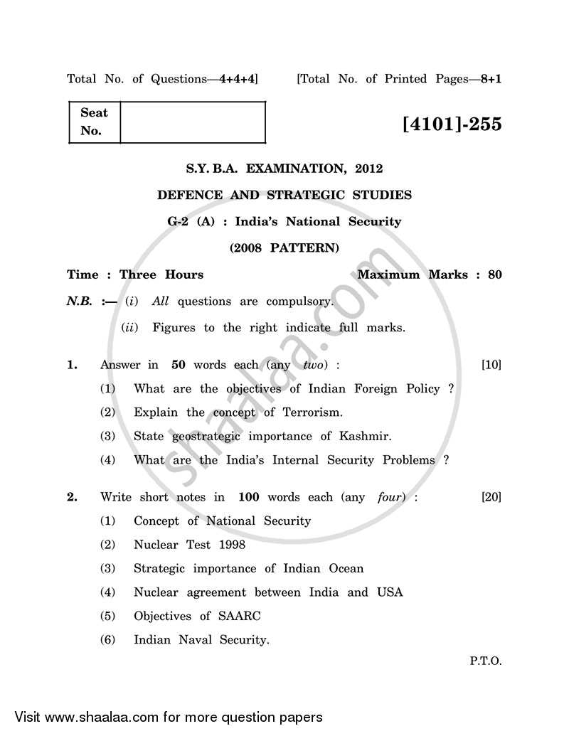Question Paper - Defence and Strategic Studies General Paper 2A- Indian National Security 2011 - 2012 - B.A. - 2nd Year (SYBA) - University of Pune