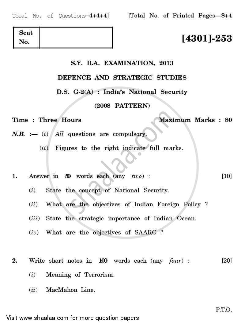 Question Paper - Defence and Strategic Studies General Paper 2A- Indian National Security 2012 - 2013 - B.A. - 2nd Year (SYBA) - University of Pune