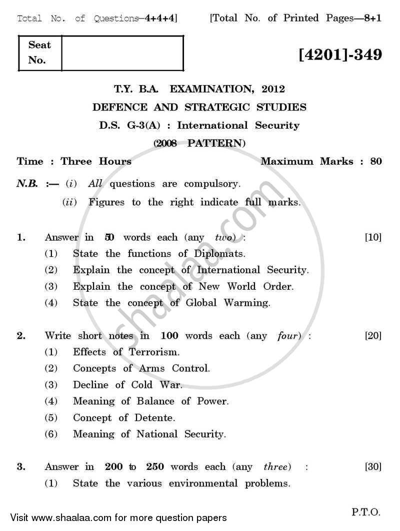 Question Paper - Defence and Strategic Studies General Paper 3A- International Security 2012-2013 - B.A. - 3rd Year (TYBA) - University of Pune with PDF download