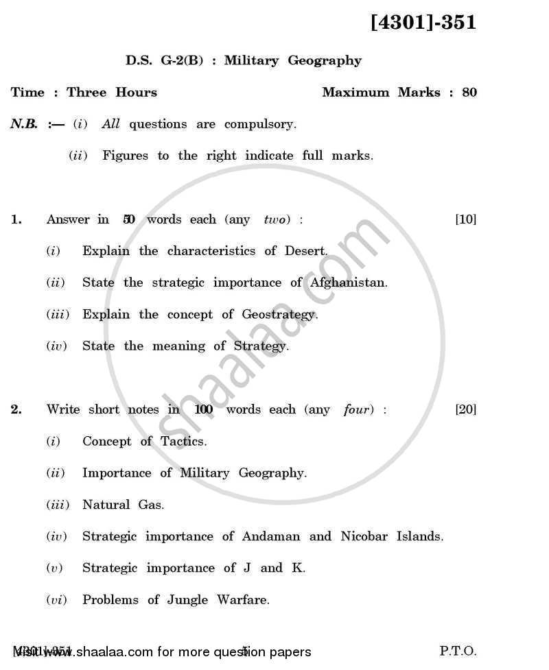 Question Paper - Defence and Strategic Studies General Paper 3B- Military Geography 2012 - 2013 - B.A. - 3rd Year (TYBA) - University of Pune