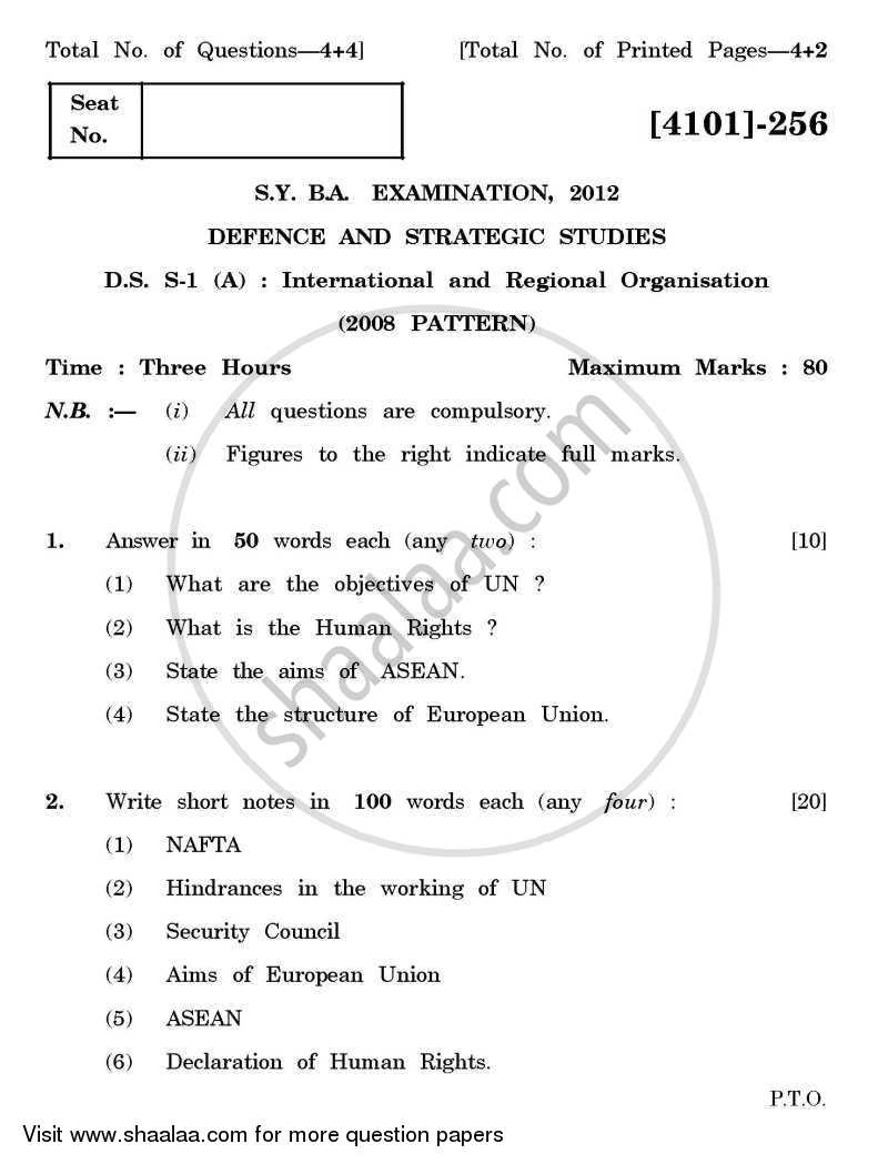 Question Paper - Defence and Strategic Studies Special Paper 1A- International and Regional Organisations 2011 - 2012 - B.A. - 2nd Year (SYBA) - University of Pune