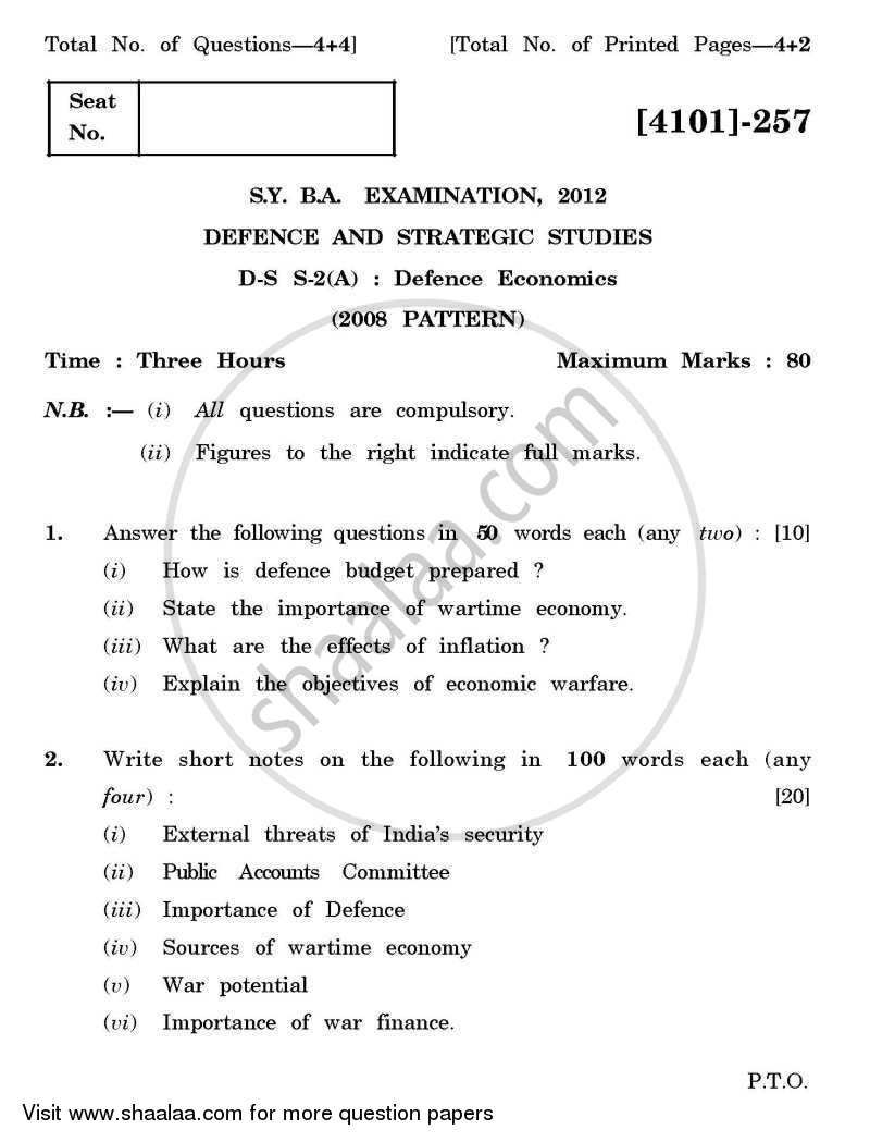 Question Paper - Defence and Strategic Studies Special Paper 2A- Defence Economics 2011 - 2012 - B.A. - 2nd Year (SYBA) - University of Pune