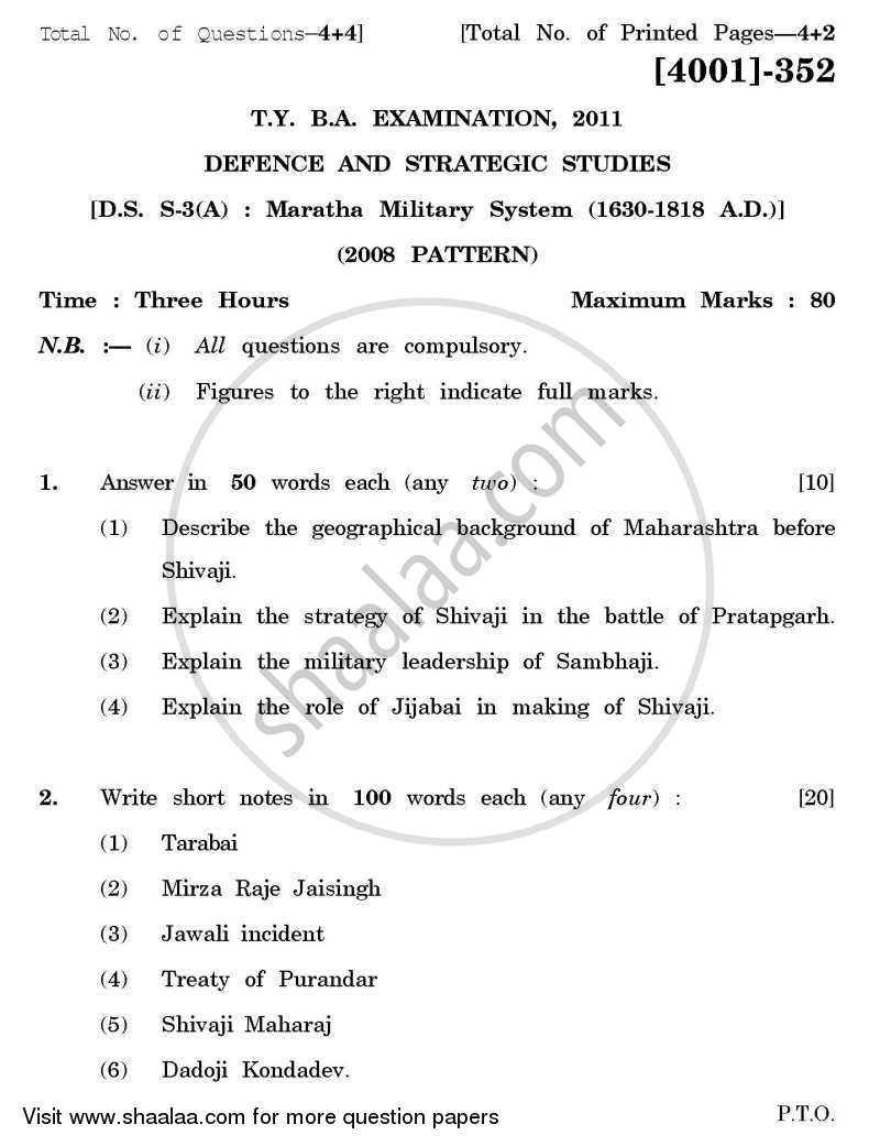Defence and Strategic Studies Special Paper 3A- Maratha Military System (1630-1818) 2011-2012 - B.A. - 3rd Year (TYBA) - University of Pune question paper with PDF download