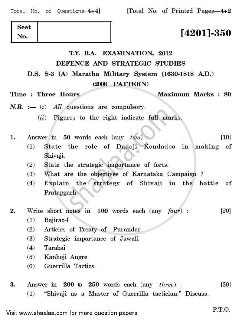 Question Paper - Defence and Strategic Studies Special Paper 3A- Maratha Military System (1630-1818) 2012 - 2013 - B.A. - 3rd Year (TYBA) - University of Pune