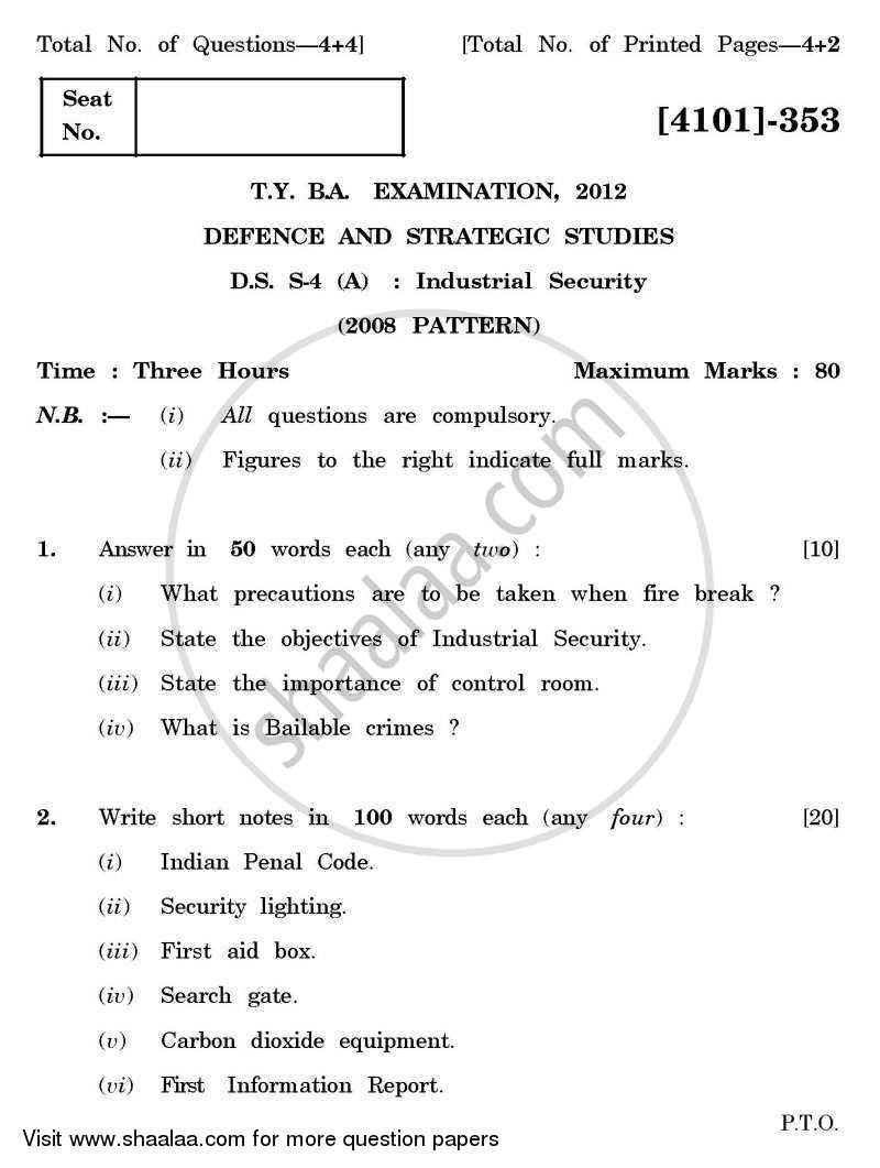 Question Paper - Defence and Strategic Studies Special Paper 4A- Industrial Security 2011 - 2012 - B.A. - 3rd Year (TYBA) - University of Pune